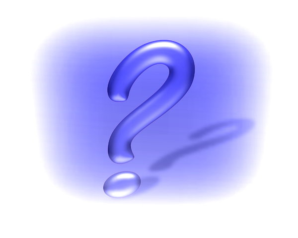 Question Mark 5: Question mark in 3D, with a shadow, against a blue and white coloured background.