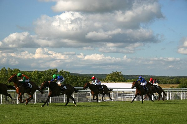 Horse racing: A horse race in England.