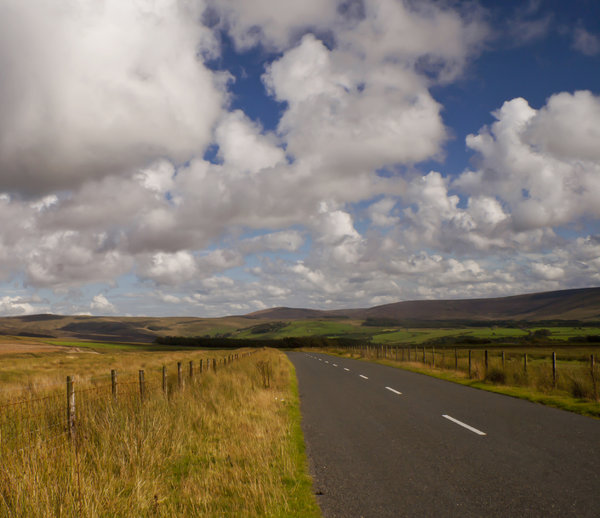 Trough of Bowland: Road snaking through the Bowland Fells near Garstang, UK.