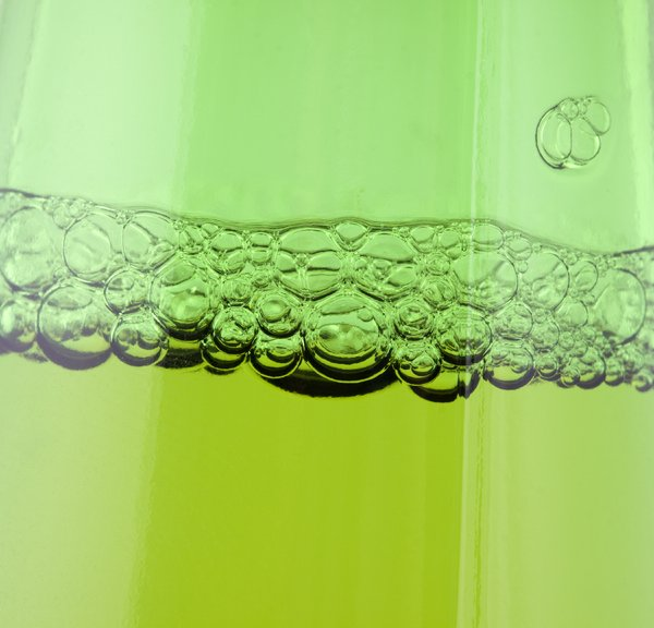 Green beer bubbles