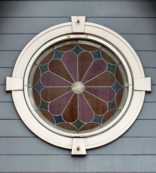 flower window in the round: decorative round stained glass window