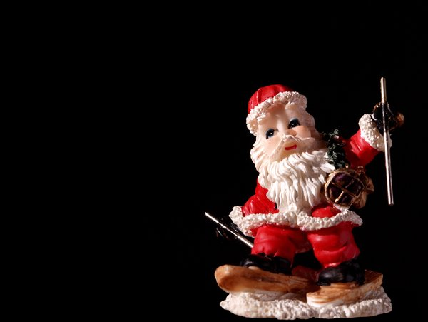 Figurine santa on skies