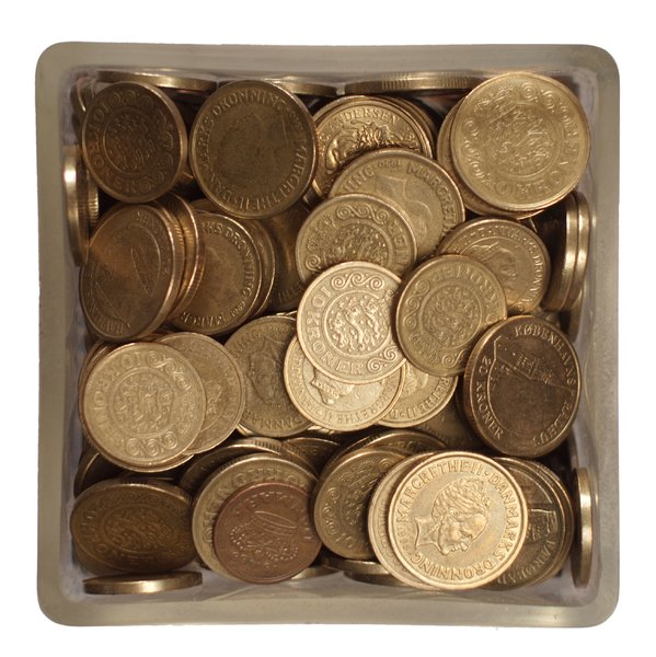 Danish Coins in a glass jar