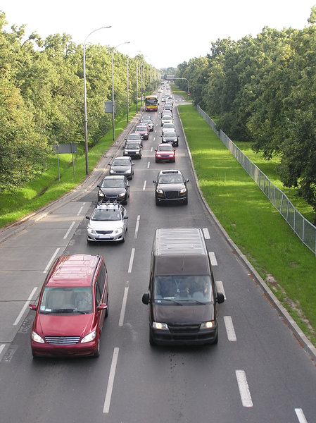 Rush hour: A traffic jam on a street in Warsaw (near Okecie, Zwirki i Wigury street)