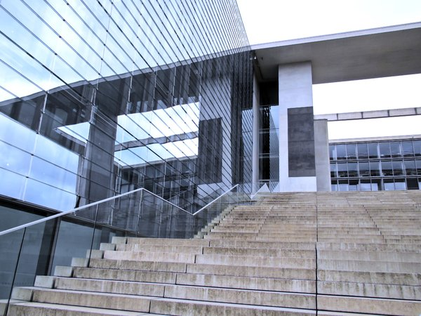 glass architecture and stairs