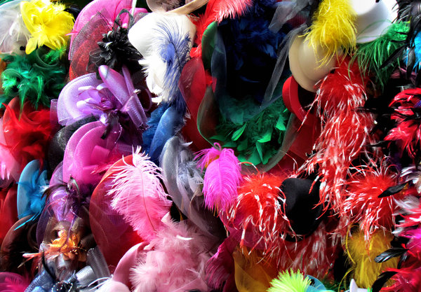 feathered caps: colourful hats and caps with decorative feathers