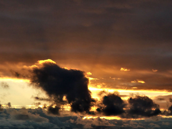 dark clouds: dark storm clouds with sunlit 'golden lining'