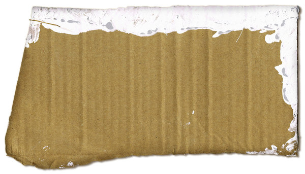 Paint Edge: A scrap piece of cardboard with white paint on the edge.