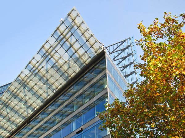 glass architecture in autumn
