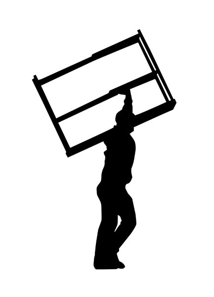 Carriers: A man carring the window frame or some boxes