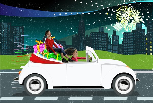 Kids in Santa's car