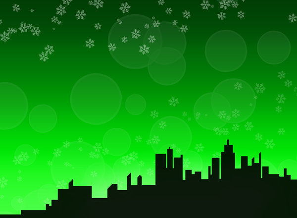 Winter skyline background 2 - : A city skyline in a winter/christmas theme.