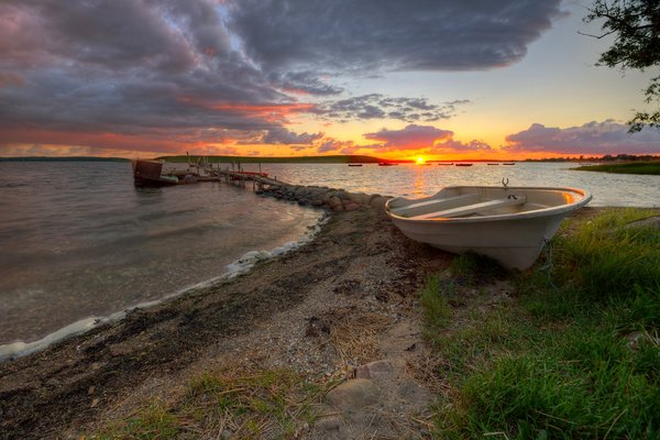 Rowboat sunset - HDR