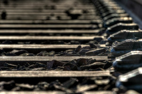 Train Track Detail: Detail of rail track and sleepers