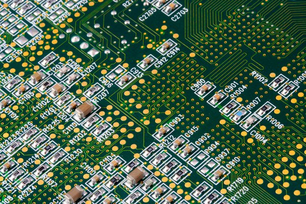 Circuit Board Close-up: Close-up texture of a circuit board.