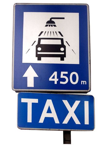 Taxi and car wash sign