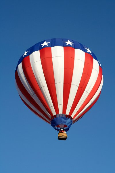 American Hot Air Balloon: Hot air balloon with American stars and stripes.