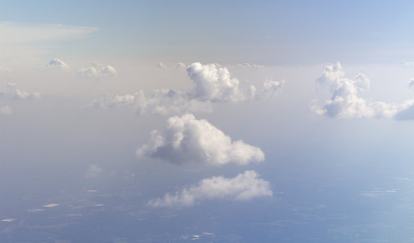 America from the air: Clouds and landscape of North Carolina, as seen from a commercial airliner.