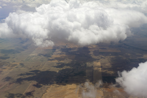 America from the air: The Great Plain east of Denver, Colorado, as seen from a commercial airliner.