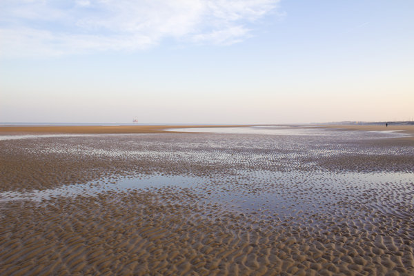 Beach at low tide at dawn