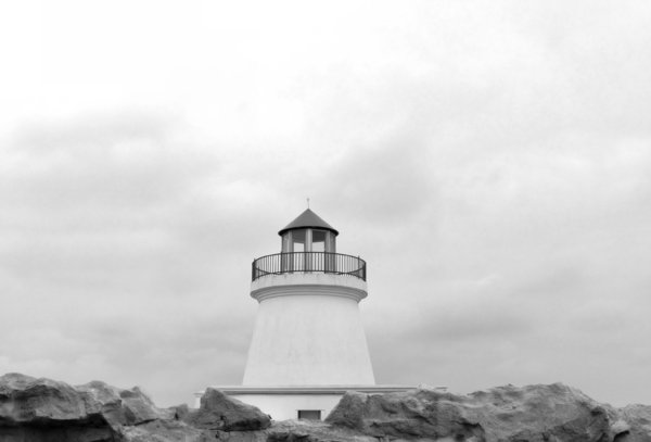 seaside lookout towerBW: black and white image of seaside lookout tower