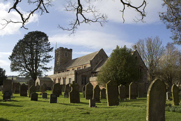 English church: A village church in Cumbria, northern England, in early spring.