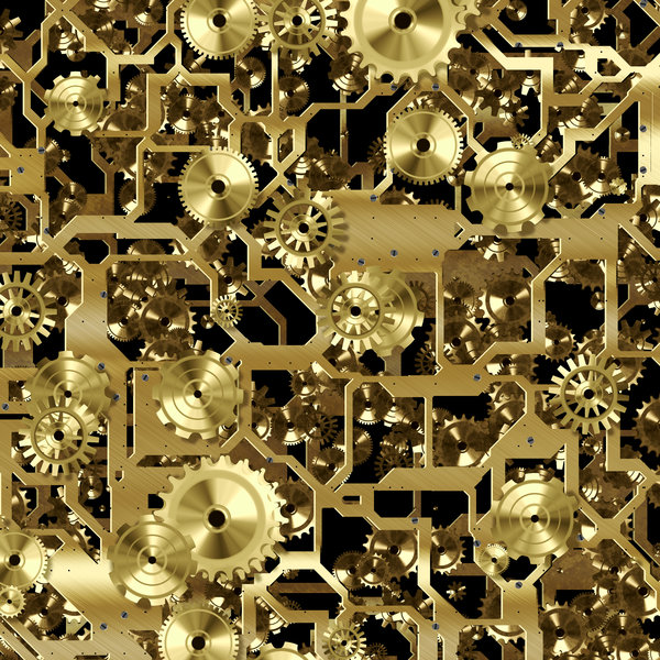 Clockwork 2: A metallic network of frames, wheels and gears in bronze. Great symbolism or a fabulous textured background. Perhaps you would prefer this: http://www.rgbstock.com/photo/nvACkTU/Clockwork+3