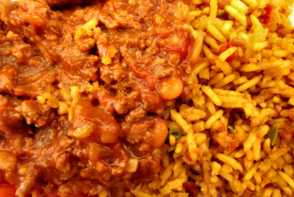 multicoloured meal5: multicoloured mixed meal of savoury rice with mince and vegetables