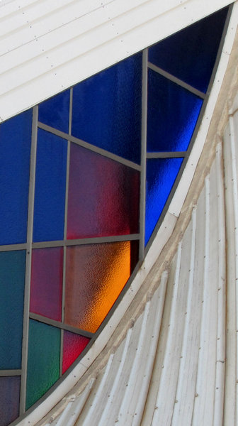 colour corner1: exterior view of  abstract stained glass windows