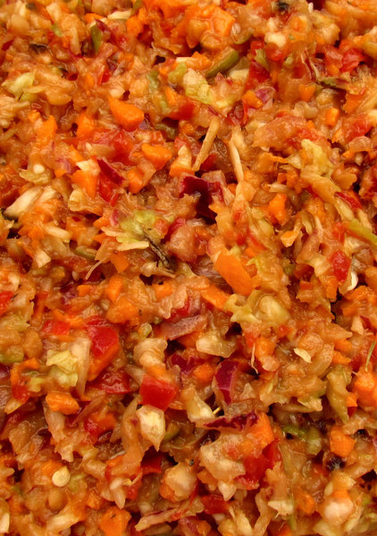 grated vegetable salad mix1: moist fresh grated mixed vegetable salad