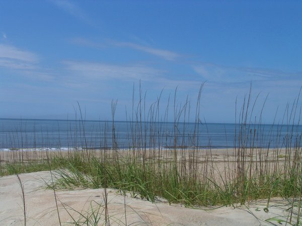 Sand dunes to Atlantic: Sand dunes reaching into the Atlantic Ocean with sea grass helping to hold the dunes in place.