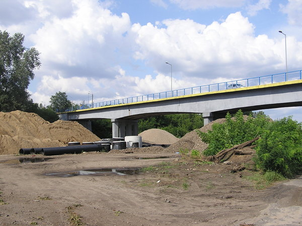 Bridge under construction: A construction site. Modlin area