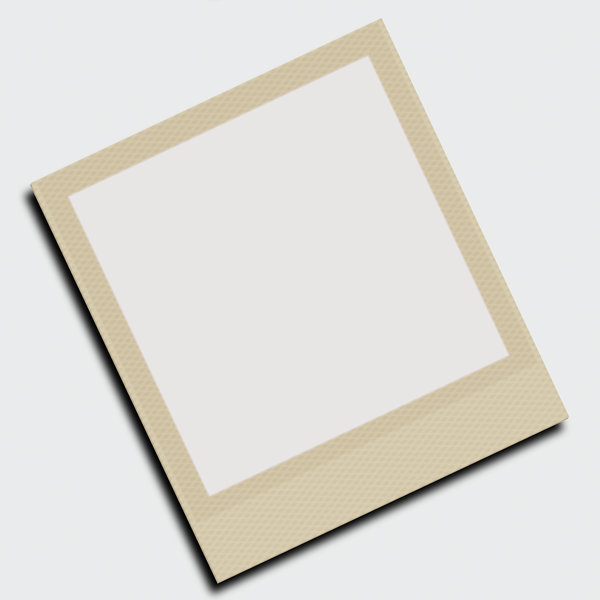 Polaroid Frame: A blank Polaroid-style photo frame in a neutral colour. Hi-res image.