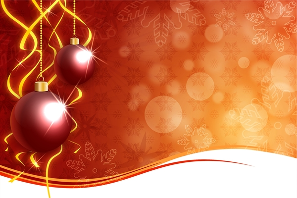 Warm Christmas Background: Christmas baubles on a orange christmas background