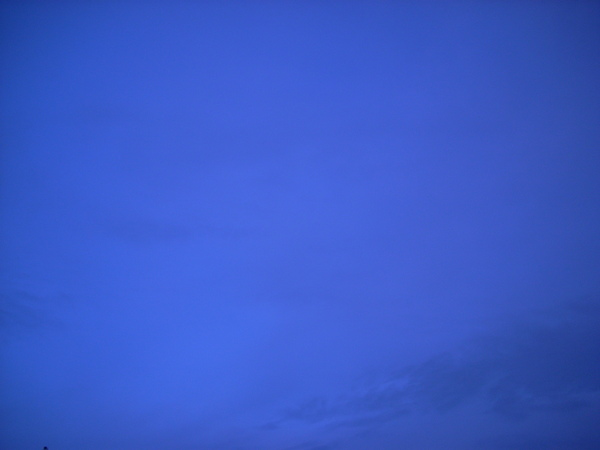 Blue Skies: I blindly shot the sky from the car - this is what I got -- nearly solid pretty shade of blue --