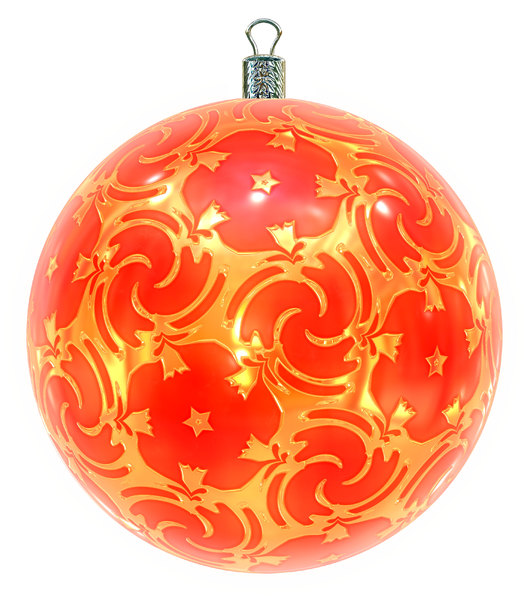 Christmas Bauble 2: An ornate Christmas bauble decorated with a golden metallic pattern.