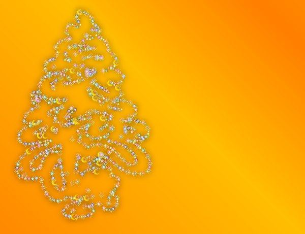 Christmas Background 3: A starry Christmas card or cover, with a unique fantasy tree shape on a yellow gradient background.