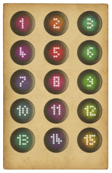 Vintage Game Card: An old game card with numbers.