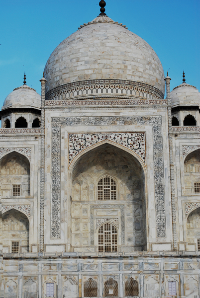 Taj Mahal Close-up: Taj Mahal Close-up. White marble structure built by Shah Jahan for his wife. One of India's world famous monument structure built in Agra.