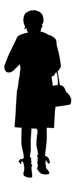 Girl with a bag: A girl with a bag silhouette.