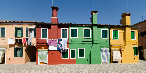 Colorful housing in Burano: Picture of the very specials village Burano, near Venice