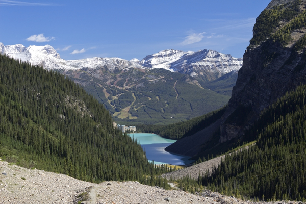 Lake Louise view: View from a mountain trail of Lake Louise, western Canada.