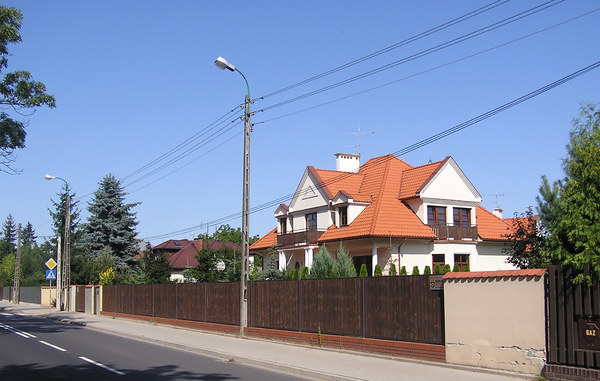 A street: A house by the street
