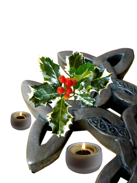 Celtic Cross with holly