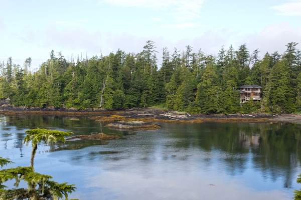 House by the shore: A house by a sea inlet on the Pacific coast of Vancouver Island, Canada.