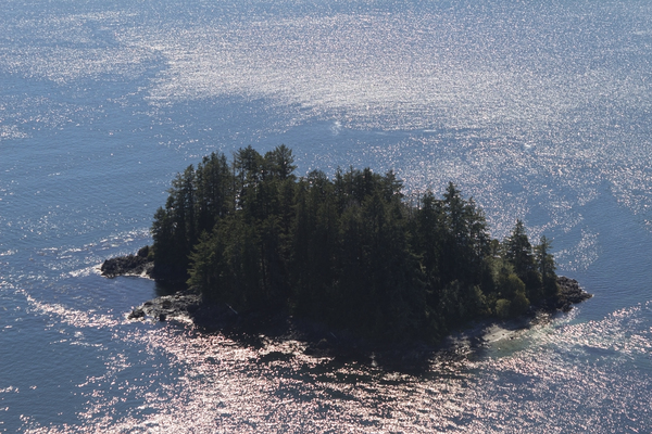 Island from the air: A tiny island as seen from the air off the coast of Vancouver Island, Canada.