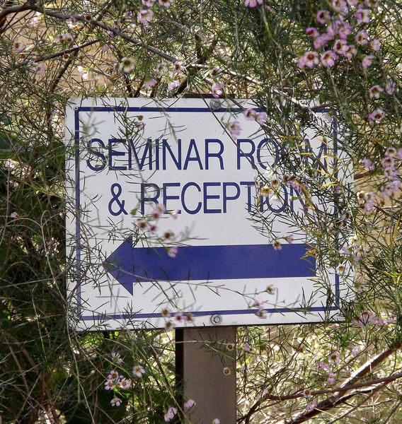 hidden seminar: seminar and reception sign covered by garden foliage and flowers