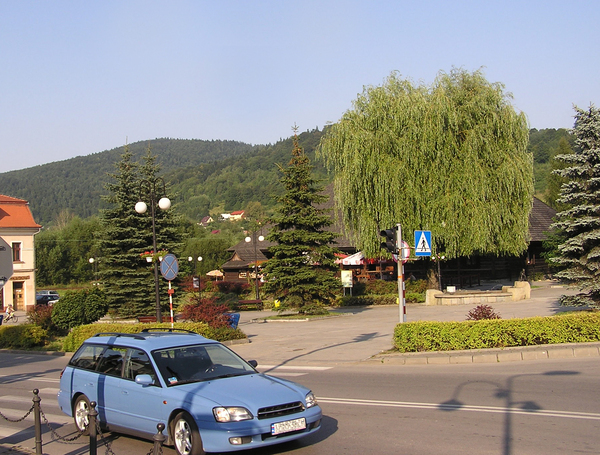 Mountain town: A town in the small mountains. Sucha Beskidzka.