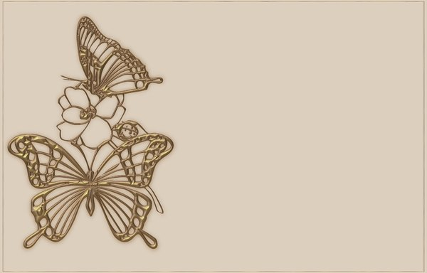 Bronze Butterfly Border: A border of a golden butterfly, flower and ladybug on a pale pastel background with a thin golden border. Made from a public domain image. This would make a nice invitation, card, price tag, etc.