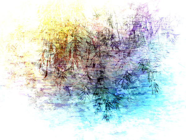 Impressionist Collage: An arty image of gum leaves hanging over waterlillies. Made from my own photos.